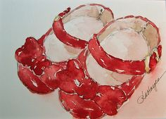 Watercolor Painting of Red Baby Shoes