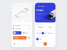 Cargo Transportation App Design by Mike Guskov on Dribbble Design Logo, Design Poster, App Ui Design, Map Design, Interface Design, Best App Design, User Interface, Graphic Design, Logo Transport