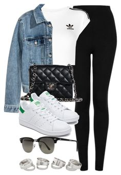 """#14096"" by vany-alvarado ❤ liked on Polyvore featuring Topshop, adidas Originals, H&M, Chanel and Ray-Ban"