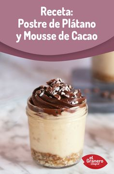Postre de plátano y mousse de cacao. #food #recipes #health #dessert