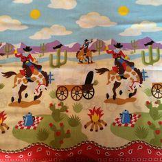 "Eustheelf 31"" Kids Cowboy Western Border Print I Spy Horses Wagon Cotton Quilt Fabric 45"