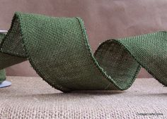 Burlap - Moss Green Wired Burlap Ribbon by Cottage Crafts Online