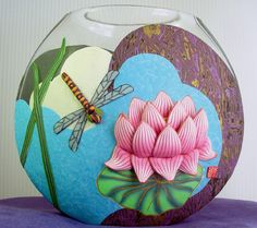 Dragonfly and Water Lotus Vase by Wanda Shum Design