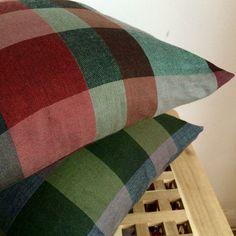 Plaid Cosy Cushion Cover// Tartan Check Print // by StampAndStitch Tartan, Plaid, Check Printing, Uk Shop, Cosy, Cushions, Throw Pillows, Handmade Gifts, Vintage