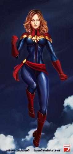 Captain Marvel, Alex Vili on ArtStation at https://www.artstation.com/artwork/dWrQK - More at https://pinterest.com/supergirlsart #fanart