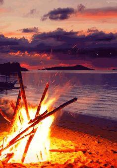 Animiertes Foto zeigt Lagerfeuer am Strand in der Abenddämmerung am Tropenstrand.Untertitel: Abfackeln am Strand.Wäre mit dabei!