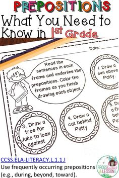 Preposition activities for 1st grade kids learning Parts of Speech! Use in literacy centers, morning work, review, and send in homework packets! Grade 1, First Grade, Preposition Activities, Structural Analysis, 1st Grade Writing, Activity Board, Parts Of Speech, Prepositions, Multiple Choice