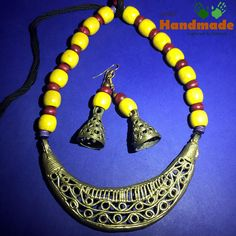 Dokra Tribal Necklace Hansuli Yellow beads