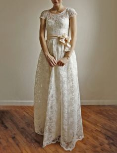 Ellie Long 2 Piece Lace and Cotton Wedding Dress by Leanimal, $1350.00
