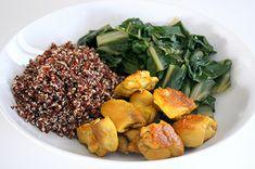 Bowl di quinoa rossa con coste e bocconcini di pollo al curry enerzona dieta zona ricette
