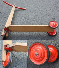 Old wooden scooter / old used toy for children with 3 wheels. Company: Hausser, made in Germany approximately 50s 60s -- Mid Century. The wooden scooter is brown. The steering is red and the wheels are red / black.  A beautiful decorative object for the nursery / child´s room. Also usable as a prop. Reminiscent of days gone by. A nostalgic wooden toy.  Height approx 63 cm / 24.80  Handlebar width approx 32.5 cm / 12.80  Length about 53,5cm / 21.6  Weight approx 1.02 kg  Vintage condition…