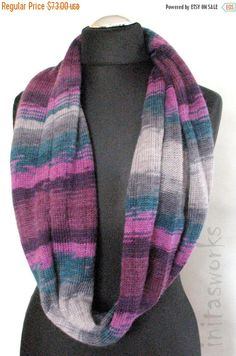 Purple Striped Infinity Scarf Cowl Wrap Violet Blue by Initasworks