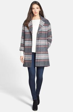 Helene Berman Plaid Coat, Vince Sweater & Joie Crop Skinny Jeans  available at #Nordstrom
