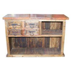 whiskey barrel western rustic patio lighting | Old Wood Bar W/Copper Top