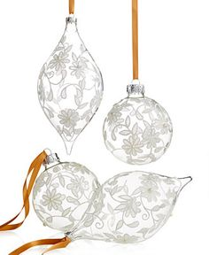 Holiday Lane Set of 4 Lace Ball and Drop Ornaments - Christmas Ornaments - Holiday Lane