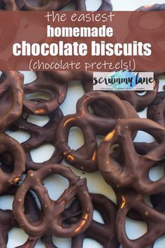 Need an 'emergency' treat, party snack or last-minute gift? Make these 5-minute chocolate pretzels. The easiest chocolate biscuit recipe ever! #chocolatepretzels #easydessert #foodgift