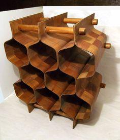 Vtg Wine Rack Bent Plywood Honeycomb Eames Era Mid Century Mod | eBay