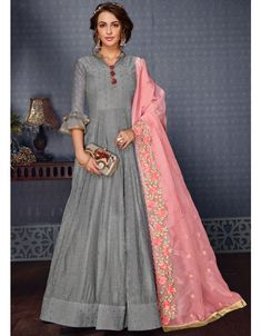 Smoke Grey Gown Style Anarkali with Dupatta Indian Party Wear, Indian Wedding Outfits, Indian Outfits, Indian Wear, Ethnic Outfits, Latest Party Wear Gown, Gown Party Wear, Silk Anarkali Suits, Anarkali Dress