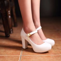 Women Sweet Round Toe Ankle Strap Block High Heel Mary Janes Lolita Party Shoes #Fashion #PumpsClassics
