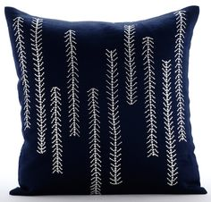 We Go Up And Down - 16x16 Bead embroidered navy blue cotton linen throw pillow.