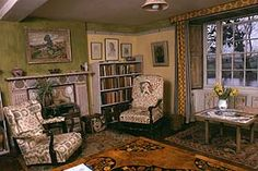 A photo of a room interior Clive Bell's study at Charleston near Lewes, one of the homes of the Bloomsbury group, who talked in circles, lived in squares and loved in triangles.