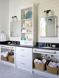 kids Bath...love the idea of taking off the doors and adding baskets. like the shelf for separation too. paneling, everything!