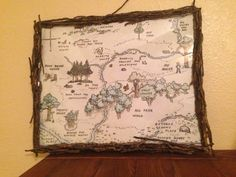 Hundred acre wood map and custom frame for party