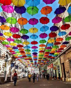 Timișoara, Romania Rain Umbrella, Umbrella Street, Old Town, Beautiful World, Puerto Rico, Street Art, Architecture, Wallpaper, City