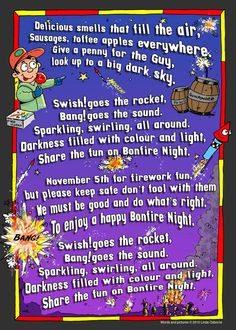 Fireworks and sparklers preschool activity card & rhymes