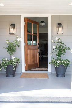 Grey Exterior, House Paint Exterior, Exterior House Colors, Exterior Design, Grey Siding House, Exterior House Lights, Exterior Paint Colours, Farmhouse Exterior Colors, Gray Siding
