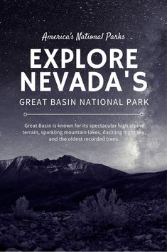 Just 4 hours away from Las Vegas, Great Basin National Park features brilliant blue alpine lakes, the oldest living trees on earth, limestone caverns, and is an International Dark Sky park. Go in September and you can check out the gorgeous fall foliage Nevada National Parks, Us National Parks, Usa Travel Guide, Travel Usa, Canada Travel, Travel Guides, Travel Tips, Great Basin, Alpine Lake