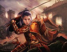 Adam Schumpert Freelance Illustrator  Shiba Iaimiko Card art for Legend of the Five Rings