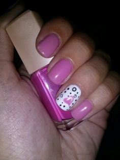 Pink nails with nail art :-)