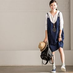 Korean Style Denim Dress Oversize Casual Women Clothes Q7113A Clothes will not shrink,loose Cotton fabric, soft to the touch. *Care: hand wash or machine wash gentle, best to lay flat to dry. *Materia