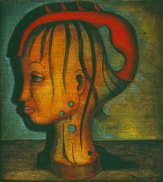 This second painting of Alexis Preller's is an appealing small study of the head of a young African girl. We see the side view of her head and neck as carved out of a light wood. Small Study, South African Artists, African Girl, Illustration Art, Illustrations, Carving, Pretoria, Portrait, Masters