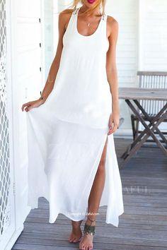 Backless Lace Splicing Side Slit Maxi Dress