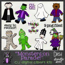 Monsters on Parade Halloween themed CU clipart #CU, #CUdigitals, #digiscrap, #scrapbooking