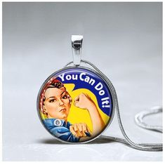 Girl Power Necklace - Girl Power Pendant - Encouragement Gift Empowerment necklace - Rosie the Rivet