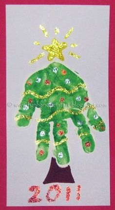 Handprint Christmas Tree craft via PediaStaff. Pinned by Personal Touch Therapy