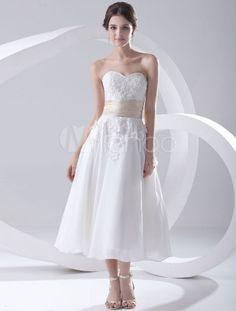 Querido a linha branca Applique Beading vestido de casamento nupcial Chiffon - Milanoo.com