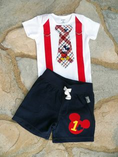 Mickey Mouse Birthday Tie and Suspender Bodysuit Baby Boy First