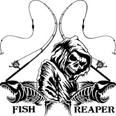 Fishing Fish Grim Reaper Pole Skull Car Truck Window Vinyl Decal Sticker | eBay