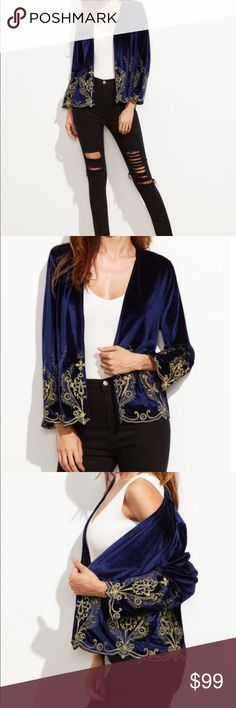 Velvet embroidered blazer Velvet embroidered blazer. 95% polyester 5% spandex. Fabric has no stretch. Open blazer. New without tags. Never worn. Ships within 7 business days. fox&lace Jackets & Coats Blazers