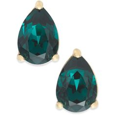 kate spade new york Gold-Tone Colored Stone Teardrop Stud Earrings (525 CZK) ❤ liked on Polyvore featuring jewelry, earrings, emerald, gold tone jewelry, stud earrings, tear drop jewelry, goldtone jewelry and gold colored earrings