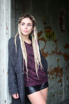 dreadlocks russiangirl white dreadlocks dreads grunge outfit blonde autumn rad skull print leather shorts