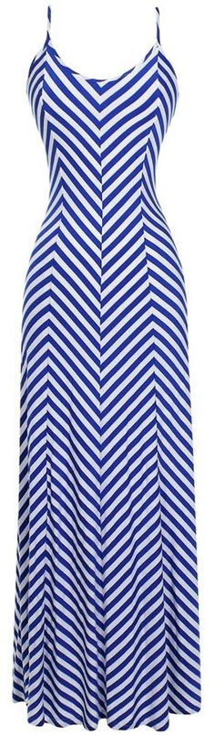 Mitered Stripe Maxi Dress