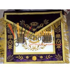HAND MADE EMBROIDER MASONIC GRAND LODGE PAST MASTER APRON PURPLE  PRODUCT DESCRIPTION: ITEM CONDITION: NEW APRON AVAILABLE IN BLUE , RED AND PURPLE COLOUR ( PLZ SPECIFY IT IN YOU ORDER) HAND EMBROIDERS APRON WITH GOLD BULLION WIRE & THREAD. APRON MADE WITH HEAVY WHITE ARTIFICIAL LEATHER AND PURPLE  VELVET  APRON SIZE  ; 14 x 16 INCH ( EXCLUDING FRINGE) PURPLE VELVET BORDER - 5 CM WIDE ON APRON TRIMMED WITH QUARTER INCH WIDE GOLD METALLIC BRAIDS. 5 CM WIDE MATCHING VELVET TABS WITH GOLD METAL…