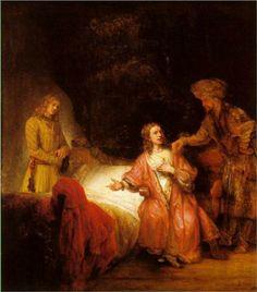 Joseph Accused by Potiphar's Wife.José acusado por la esposa de Putifar. Rembrandt. 1655. Oil on canvas. 113.5 X 90 cm. Gemaldegallerie. Berlin.