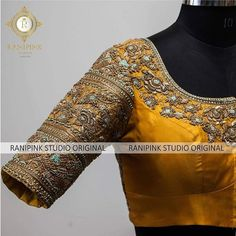 Stunning mustard yellow color designer blouse with floret lata design hand emrbdieory work. Wedding Saree Blouse Designs, Pattu Saree Blouse Designs, Fancy Blouse Designs, Blouse Neck Designs, Wedding Blouses, Maggam Work Designs, Designer Blouse Patterns, Blouse Models, Appointments