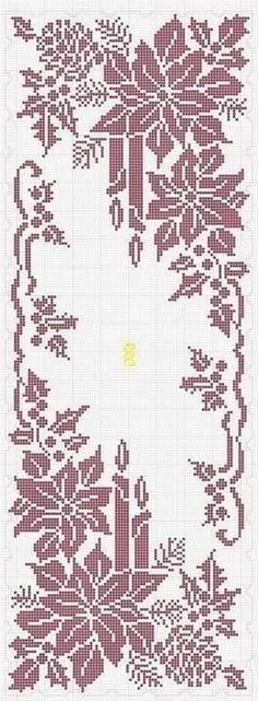 Ideas for crochet table runner chart cross stitch Xmas Cross Stitch, Cross Stitch Charts, Cross Stitch Designs, Cross Stitching, Cross Stitch Embroidery, Cross Stitch Patterns, Knitting Patterns, Crochet Patterns, Crochet Ideas